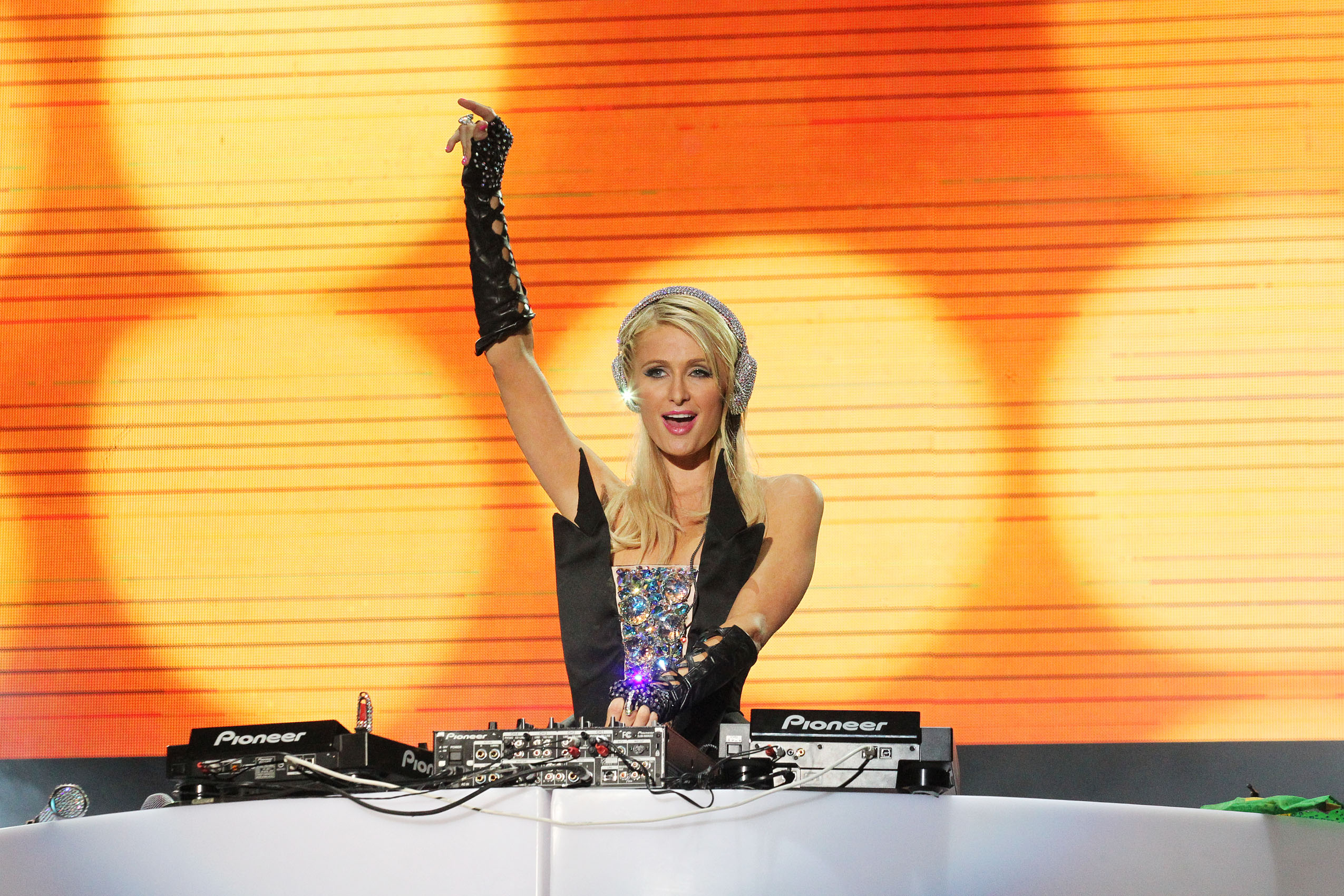 Paris Hilton performed her DJ debut at the Pop Music Festival in Sao Paulo, Brazil in front of thousands of ecstatic fans