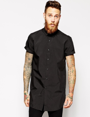 ASOS Smart Shirt in Longline with Short Sleeves-20