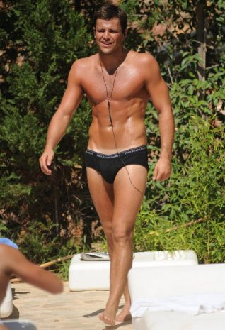 Mark Wright parading in Y front boxers